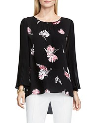 Vince Camuto Floral Signature Pleated Sleeve Blouse Black