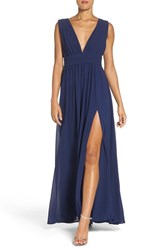 Lulus Women's Lulu's Plunging V Neck Chiffon Gown Navy