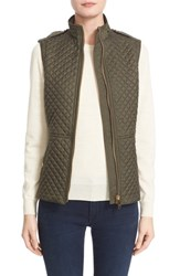 Women's Burberry Brit 'Tindale' Quilted Vest Military Khaki