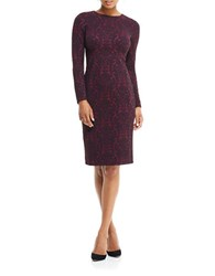 Maggy London Jacquard Crewneck Sheath Dress Dry Cherry