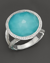 Ippolita Sterling Silver Stella Lollipop Ring In Turquoise Doublet With Diamonds Silver Multi