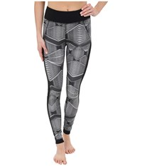 Zobha Fitted Printed Leggings W Mesh Side Panels Black Women's Workout