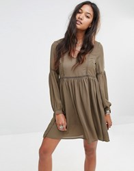 Glamorous Tea Dress With Wide Sleeves And Ladder Inserts Khaki Green