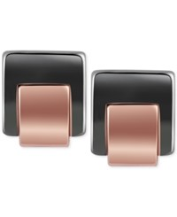 T Tahari Hematite Tone Square Stud Earrings