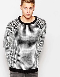 Cheap Monday Crew Knit Jumper Zoom Contrast Texture Black