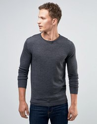 Selected Homme Merino Wool Crew Neck Jumper Mid Grey