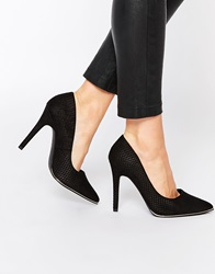 New Look Wide Fit Croc Effect Pointed Court Shoe Black