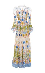 Naeem Khan Garden Puff Sleeve Fit And Flare Gown White Blue Green