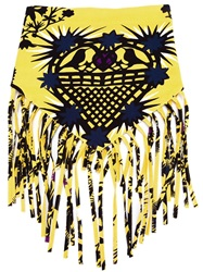 Msgm Printed Fringed Scarf Yellow And Orange