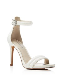 Kenneth Cole Brooke Snake Embossed Ankle Strap High Heel Sandals White