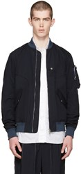 Undecorated Man Navy Woven Flight Jacket