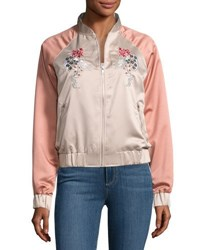 Glamorous Dragon Embroidered Satin Bomber Jacket Pink