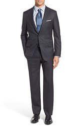 Hickey Freeman Men's 'Beacon' Classic Fit Plaid Wool Suit Charcoal