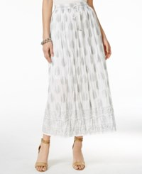 Ny Collection Metallic Print Maxi Skirt White Gold