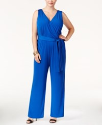 Ny Collection Petite Plus Size Sleeveless Belted Jumpsuit Surf The Wave