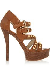 Michael Michael Kors Aria Studded Leather Platform Pumps Brown