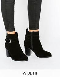 Faith Wide Fit Buckle Strap Suede Heeled Ankle Boots Black Cow Suede