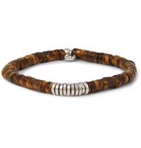 Tateossian Tiger's Eye And Silver Bead Bracelet Brown