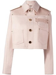 Givenchy Double Felted Cropped Jacket Pink Purple