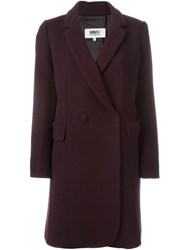 Maison Martin Margiela Mm6 Double Breasted Midi Coat Red