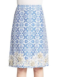 Creatures Of The Wind Styrex Embellished Jacquard Skirt Blue White