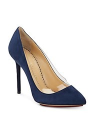 Charlotte Olympia Party Monroe Suede Pumps Blue