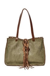 Carla Mancini Signature Whipstitched Leather Tote Green