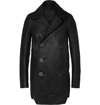 Rick Owens Slim Fit Brushed Leather Peacoat Black