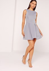 Missguided Scuba Low Back Skater Dress Ice Grey Grey