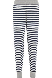 Sleepy Jones Helen Striped Cotton Jersey Leggings Midnight Blue