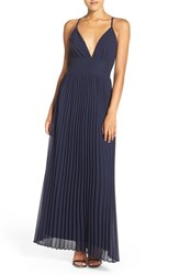 Lulus Women's Lulu's Plunging V Neck Pleat Georgette Gown Navy