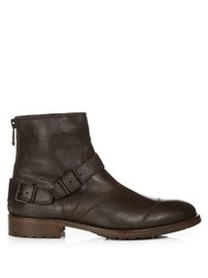 Belstaff Trialmaster Waxed Leather Ankle Boots Black