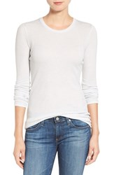 Ag Jeans Women's 'Logan' Ribbed Cotton Cashmere Tee Weathered Ice True White