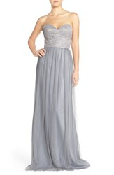 Women's Hayley Paige Occasions Strapless Metallic Lace And Net Gown Silver Pewter