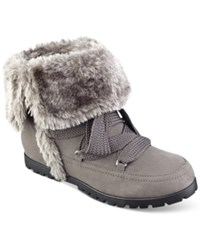 Indigo Rd. Boyston Lace Up Faux Fur Cold Weather Booties Women's Shoes Dark Grey