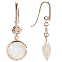John Lewis Rose Gold Plated Rainbow Moonstone Double Drop Earrings Rose Gold