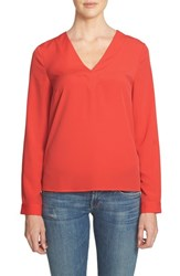 1.State Women's V Neck Blouse Ruby Flame