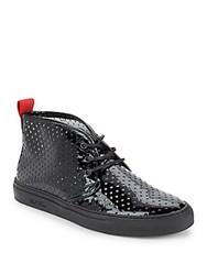 Del Toro Vernice Perforated Patent Leather Sneakers Black