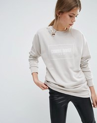 Criminal Damage Ripped Shoulder Sweatshirt Light Nude Cream