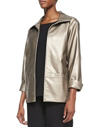 Caroline Rose Modern Faux Leather Jacket Petite Gold