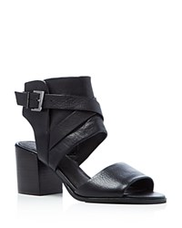 Kenneth Cole Chara Buckled Mid Heel Sandals Black