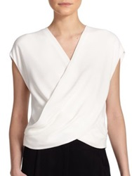 L'agence Lee Draped Wrap Blouse Ivory