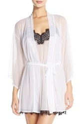 Women's Josie 'Slip Into One Happi Coat' Sheer Short Robe White