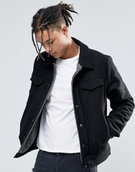 Asos Wool Mix Jacket With Borg Lining In Black Black