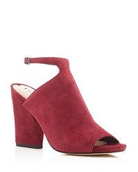 Via Spiga Prim Ankle Strap Peep Toe Booties Burgundy