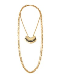 Fragments For Neiman Marcus Triple Strand Multi Media Layered Necklace Gold