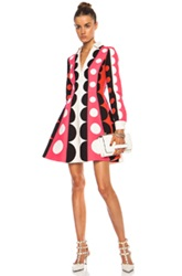 Valentino Crepe Polka Dot Runway Wool Blend Dress In Pink Geometric Print Red White