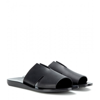 Rick Owens Large Notched Leather Sandals Black
