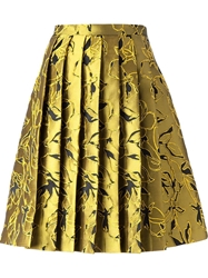 Andrea Incontri Floral Embroidered Skirt Metallic