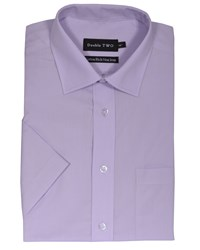 Double Two Men's King Size Non Iron Poplin Short Sleeve Shirt Lilac